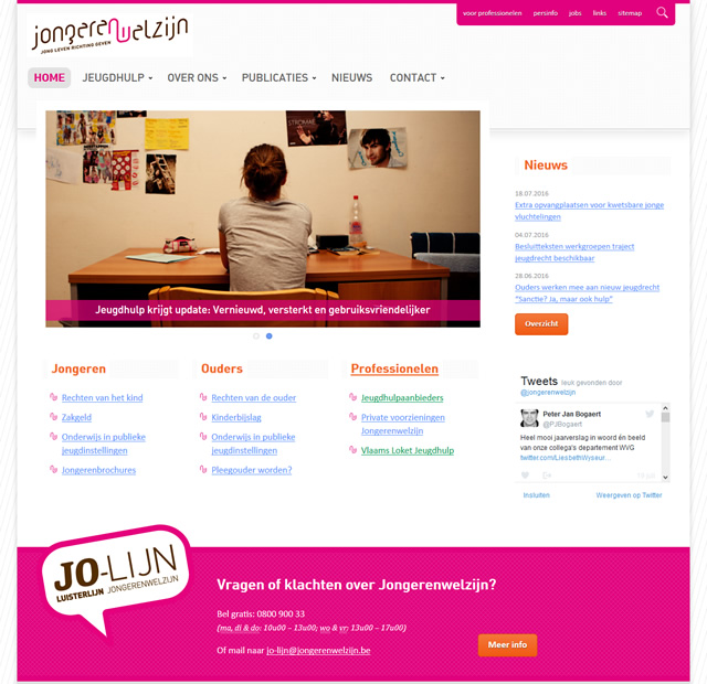 Screenshot Website Jongerenwelzijn
