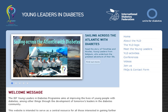 Screenshot Young Leaders in Diabetes